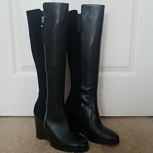 Michael Kors Clara Black Leather Knee High Boots.